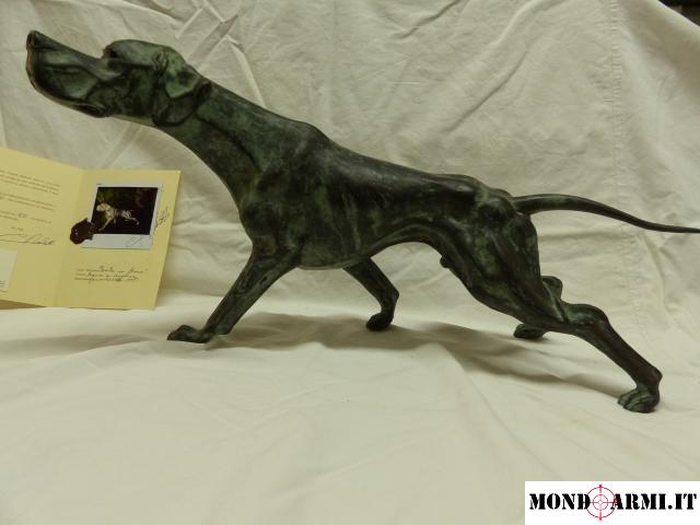 OPERA D'ARTE SCULTURA IN BRONZO RABBITTI POINTER IN FERMA